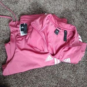 Adidas pink womens sweatsuit. SM-pant, MED-jacket